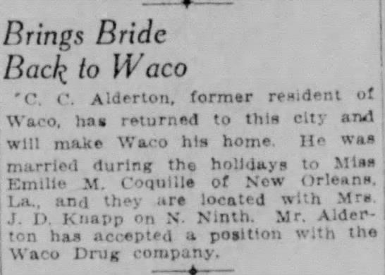 Alderton - Brings Bride liack to Waco 'C r. Alderton,...