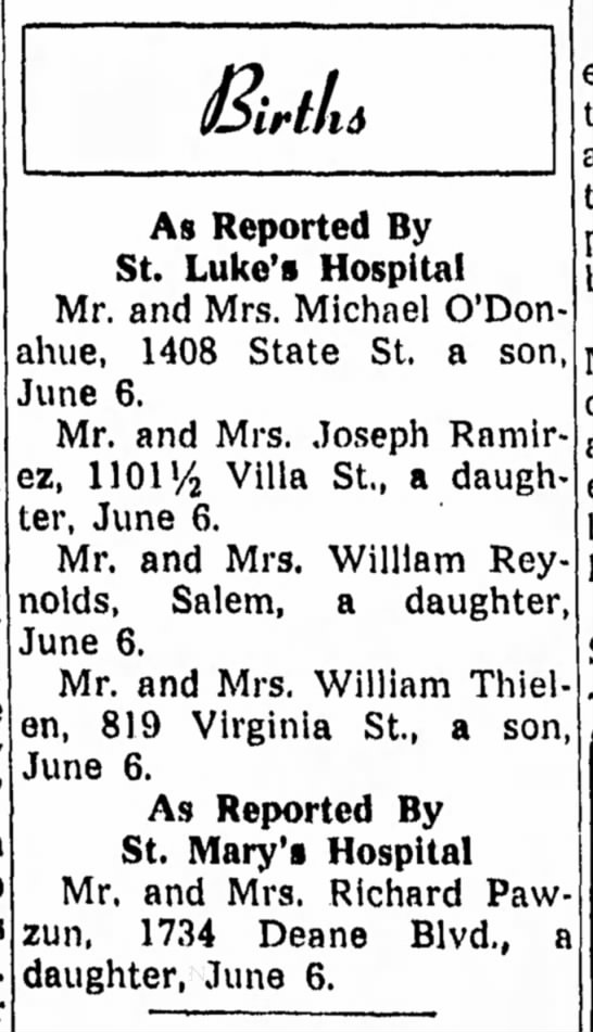 William Thielen (Dad's Brother Matt's Son) and the birth of his son. June 6, 1959