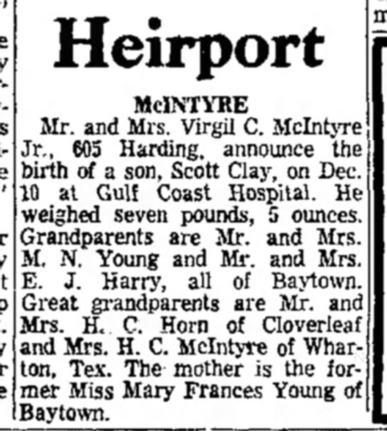 Mary Frances Young_Baytown Sun_12-14-1962