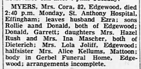 The Decatur Daily Review (Decatur, Illinois) 17 Oct 1967 - MYERS, Mrs. Cora, 82, E dee wood, died 2:40...