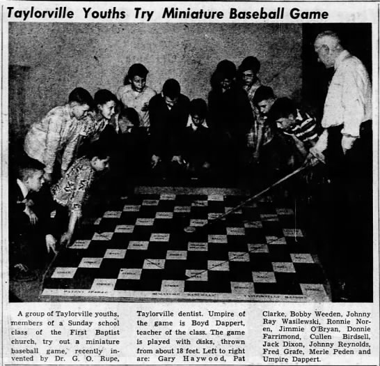 - Taylorville Youths Try Miniature Baseball Game...