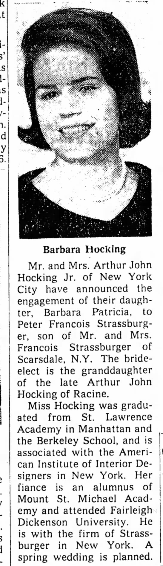 barb hocking engaged - Barbara Hocking Mr. and Mrs. Arthur John...