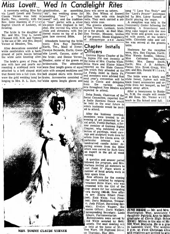 Clovis News  May 29, 1966 - Miss LovefL Wed In Candlelight Rites A ceremony...