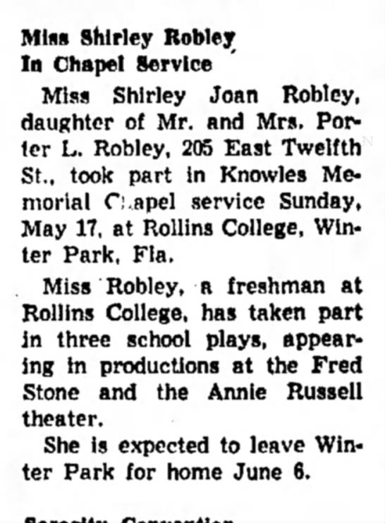 Shirley Joan Robley-Chapel Service-Alton Evening Telegraph-p.10-19 May 1953 - Miss Shirley Robley In Chapel Service Miss...