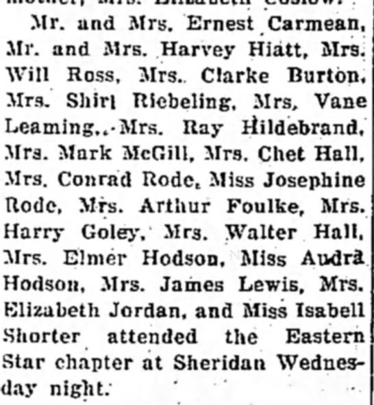 p 6, Col. 6, Par. 5 - Mr. and Mrs. Ernest .Carmean, Mr. and Mrs....