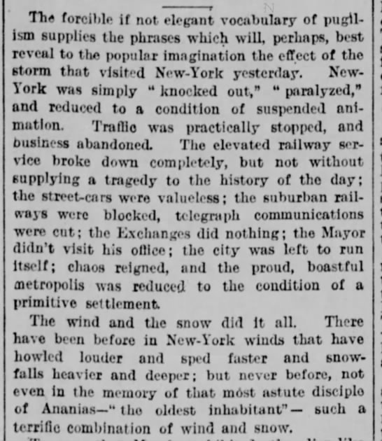 Great Blizzard of 1888 - Tlie forcii.lc if not elegant vocabulary of...