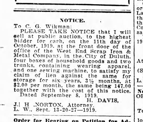 Auction outside West End Iron Sept 13, 1919 - NOTICE. To C. G. Wikman: PLEASE TAKE NOTICE...