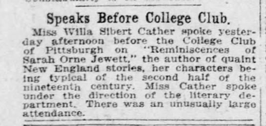 Cather speaking before College Club about Jewett, 9 Jan. 1915 - Speaks Before College Club. Miss Wllla Albert...