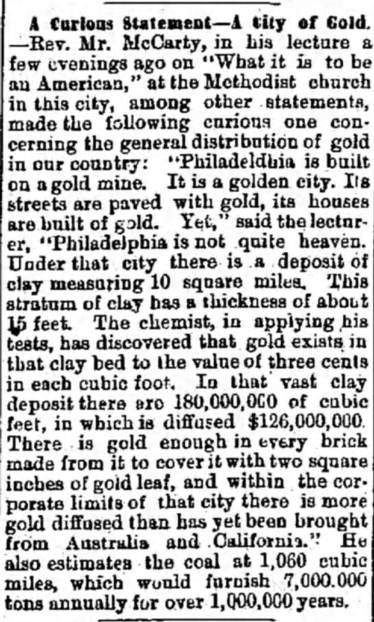 - A Curloiu Statement—A City of Gold —Rev. Mr....