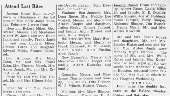 Could there be any cousins of Cyril Janik here? - Attend Last Rites Among those from out-of- town...