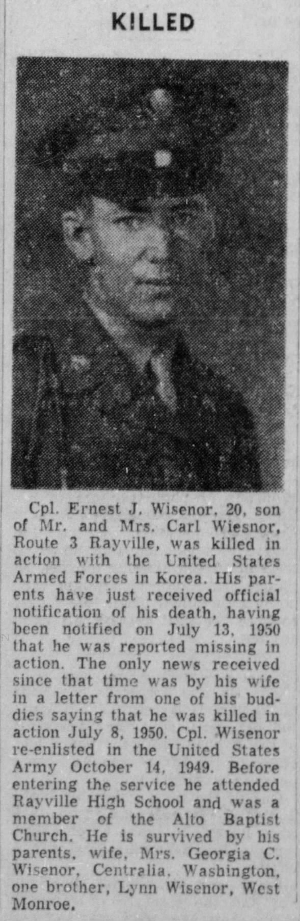 Ernest J. Wisenor Killed in Action