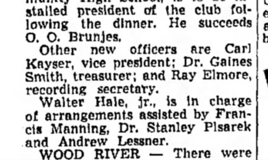 F Manning - Installed president of the club following...