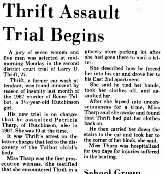 Jan. 15, 1973: Hutchinson News: Thrift Assault Trial Begins.  - Thrift Assault Trial Begins A jury of seven...