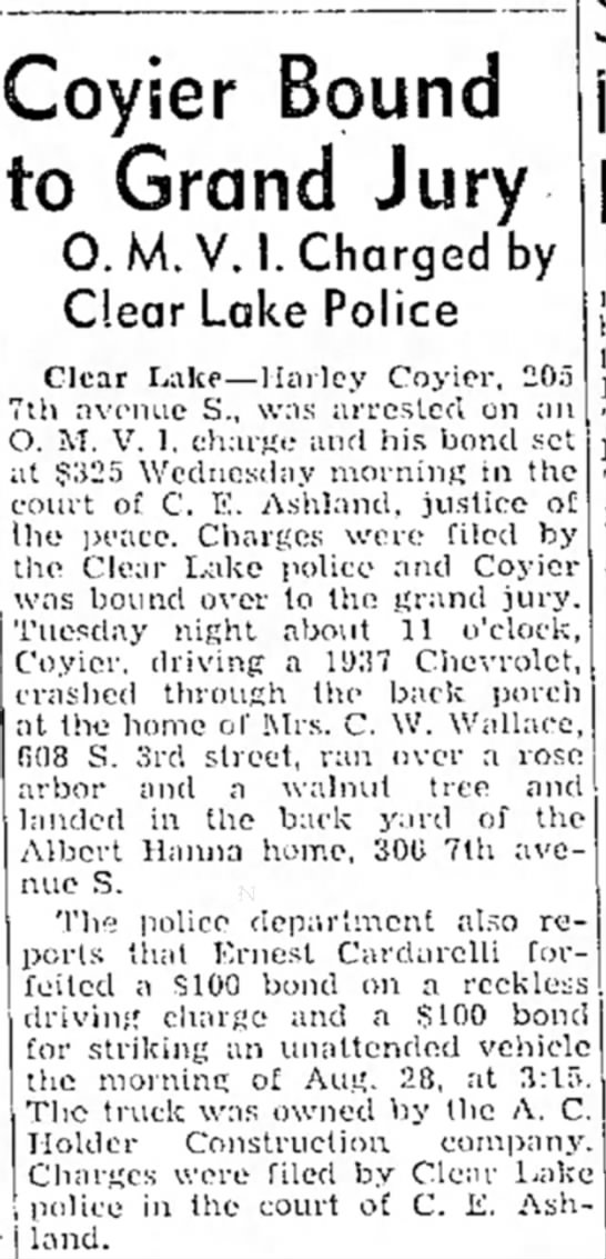 Harley Coyier Run in with the Law - Coyier Bound to Grand Jury 0. M.V.I. Charged by...