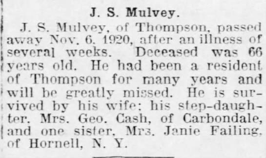 1920 November John S. Mulvey Obituary - J. S. Mulvey J. P. Mulvev. of Thompson, passed...
