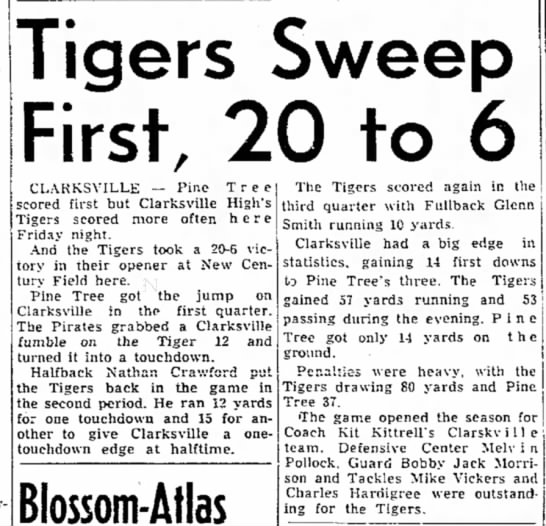 - Tigers Sweep First. 20 to 6 CLARKSVILLE — Pine...
