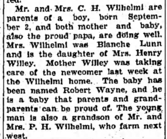 Robert Wilhelmi birth announcement - Mr. and-Mrs. C. H. Wilhelmi are arents of a...