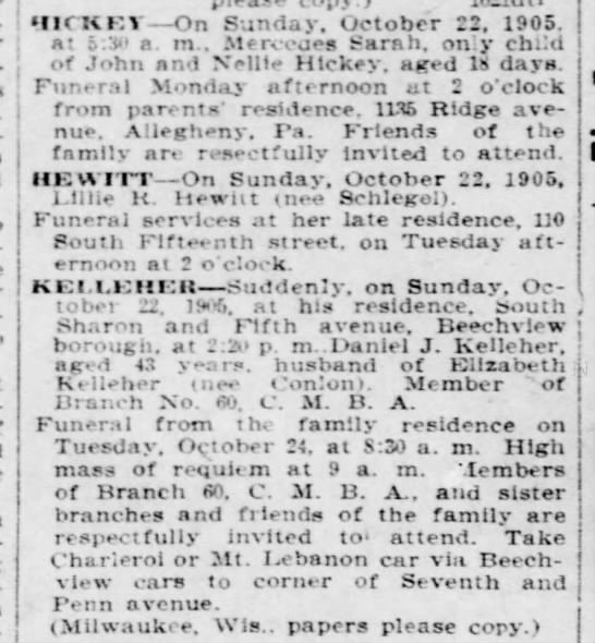 daniel kelleher obit saved Milwaukee paper to print - IICKF.Y On Sunday. October 22, 1905. at a. m.....
