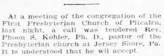 Rev. Kohler Presbyterian Church J.S. - At a meeting of the congregation of the Firt...