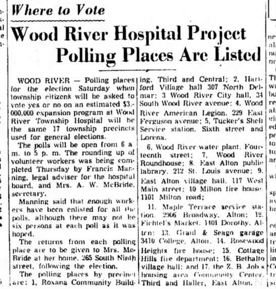 F Manning - Where to Vote Wood River Hospital Project...