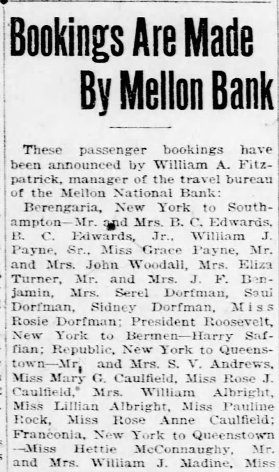 Madines book passage from Franconia, NY to Queenstown - Turner, Mr. and Mrs. J. F. B :n-nen j j;Uuin,...