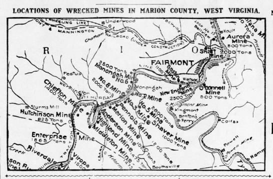 Location of the Monongah mining disaster (mines 6 and 8 in the middle of the map) - LOCATIONS OF WRECKED MINES IN MARION COUNTY,...