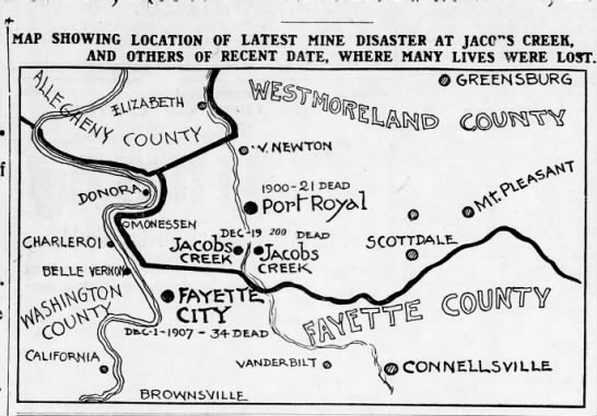 Map of area of Darr mine disaster (at Jacobs Creek at center)