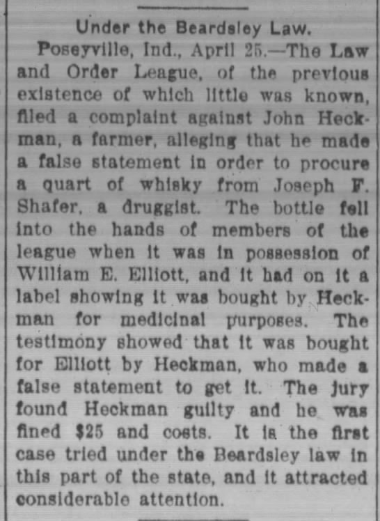 "William E Elliott in possession of ""medicinal"" whisky - Under the Beardsley Law. Poseyvllle, Ind.,..."