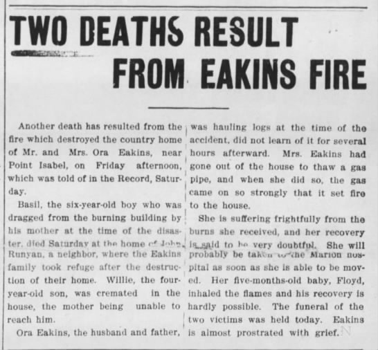 Two Deaths Result from Eakins Fire - TWO DEATHS RESULT FROM EARTHS FIRE i-;;jz...