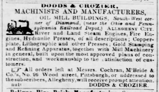 Dodds and Crozier - OOltOS aV CltOZl fcill, MACHINISTS AND...
