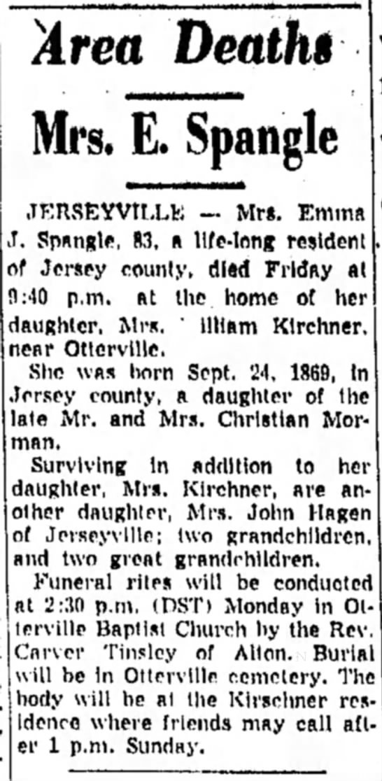 Emma J Morman Spangle (1869-1952) Obituary - Area Death* Mrs, E. Spangle JERSEYVILLU - Mrs....