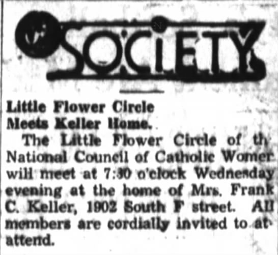 Mattie Keller: Little Flower Circle meeting of NCCW - Little flower Circle Meeto Keller Hesse. . . .....
