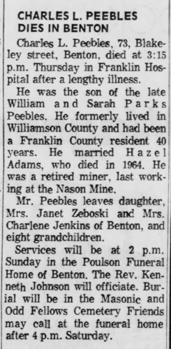 Charles L Peebles Death and Burial SI - CHARLES L. PEEBLES DIES IN BENTON Charles L....