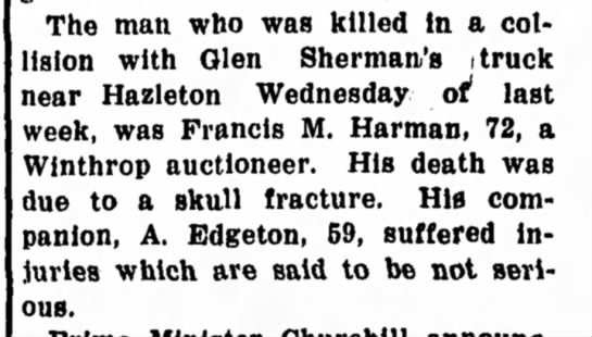 Francis M Harmon - The man who was killed in a collision collision...