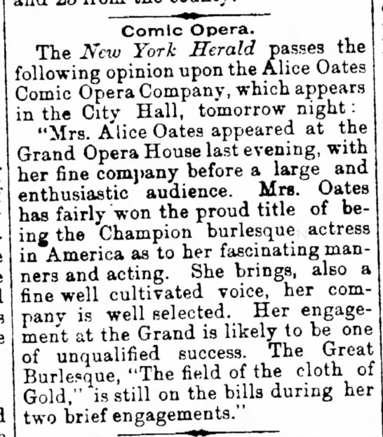 Comic Opera, Alice Oates 1883, Pg 4, The News (Frederick, Maryland) - take this his by take Comic Opera. The New York...