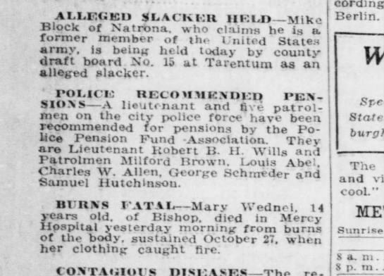 Charles W Allen recommended for police pension - Pgh Post 1 Nov 1918 p10 - AILEUKU SLACK KU I1KLD Mike Block of Natrona,...