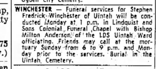 gr gpa stephen f funeral 1 feb 1958 - WINCHESTER - Funeral services for Stephen...