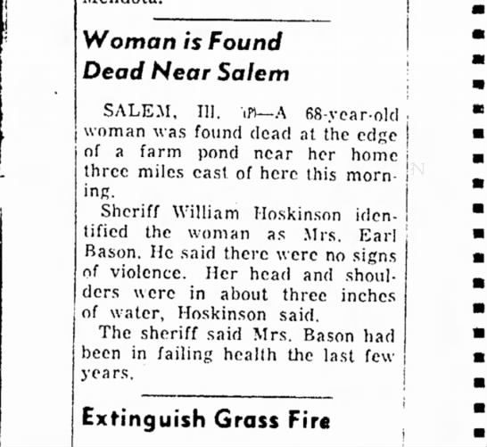 The Daily Register (Harrisburg, Illinois), 9 Sep 1957, p. 8.l - TO Woman is Found Dead Near Salem SALEM, 111....