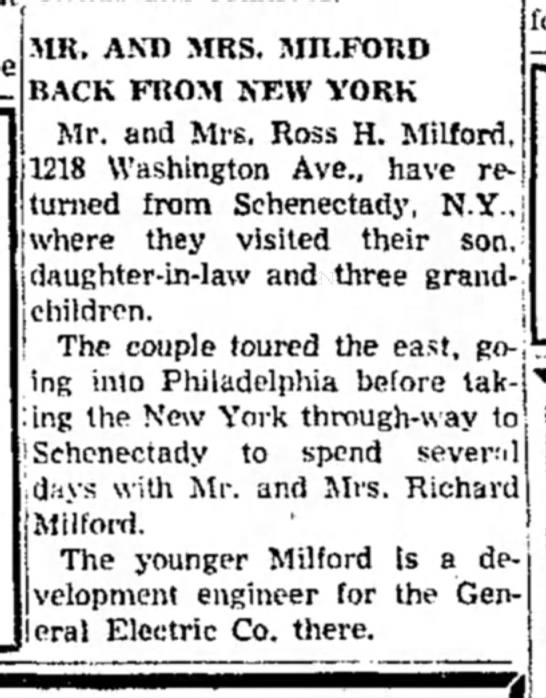 Ross & Ruth Milford visit NY - MR. AND MRS. MILFOKD BACK FROM NEW YORK Mr. and...