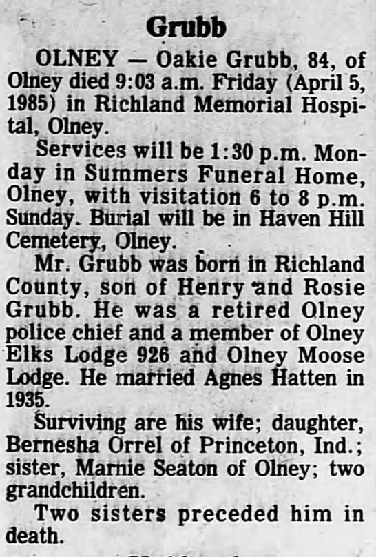 oakie grubb obit - Grubb OLNEY Oakie Grubb, 84, of Olney died 9:03...