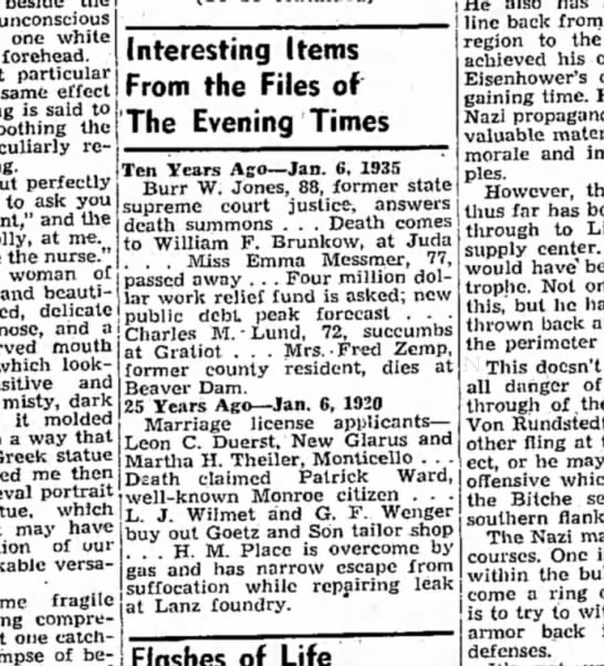 Monroe Evening times Han 6 1945 - unconscious one white forehead. particular same...
