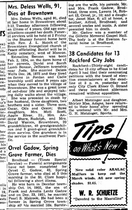 orvel gadow obit - Mrs. Deless Wells, Dies at Brown town ing are...