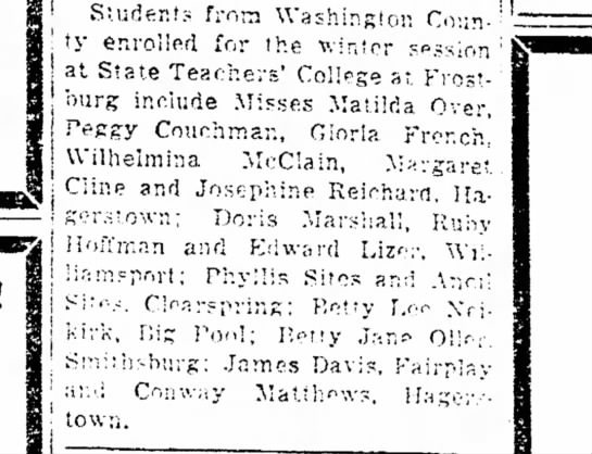 Hagerstown Daily Mail, Sept 23, 1942 - Students from Washington County County enrolled...