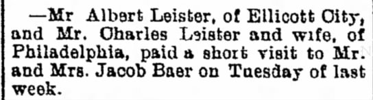 Albert Leister - to report --Mr Albart Leister, of Ellioott and...
