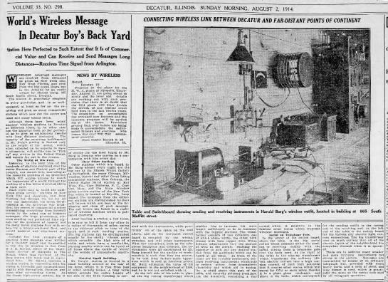 J. E. Knotts partial story news to newspaper - Aug 1914 - VOLUME 33, NO. 298. DECATUR, ILLINOIS. SUNDAY...