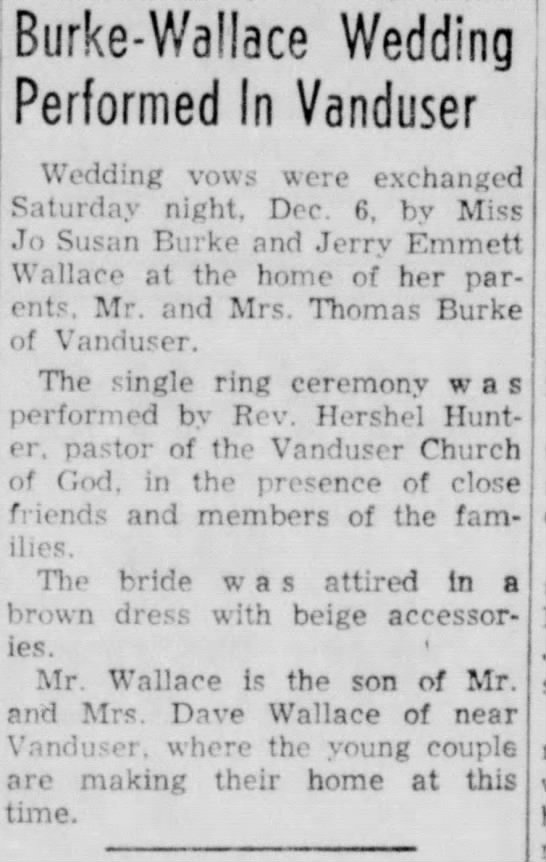 - Burke-Wallace Wedding Performed In Vanduser...