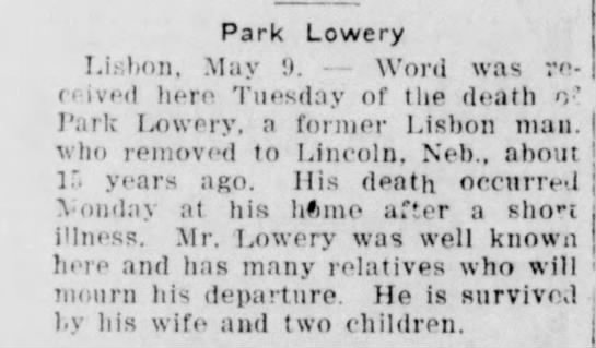 Park Lowery obit - Park Lowery Li: bon. May !). Word was ro- 0...
