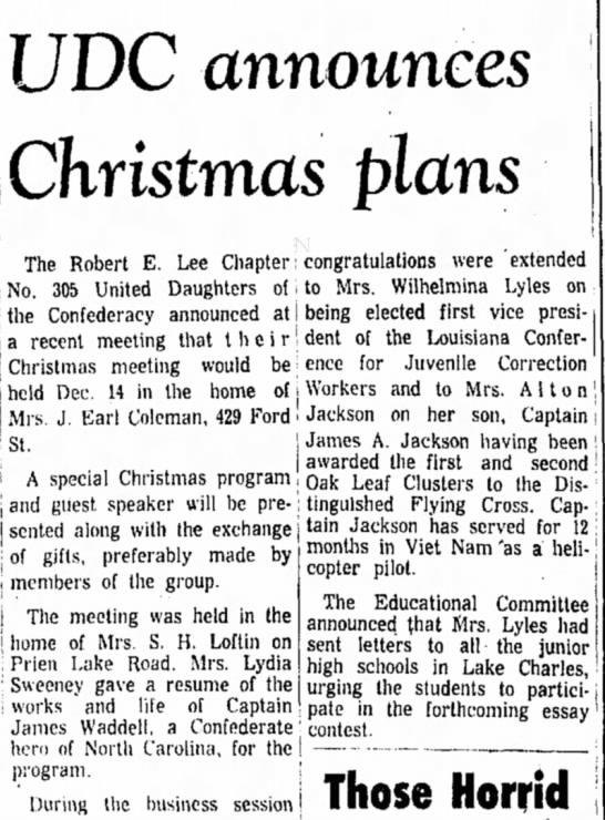 Coleman, Mrs. J. Earl, UDC Christmas meeting announcement, 8 Nov 1966, Lake Charles American-Press - UDC announces Christmas plans The Robert E. Lee...