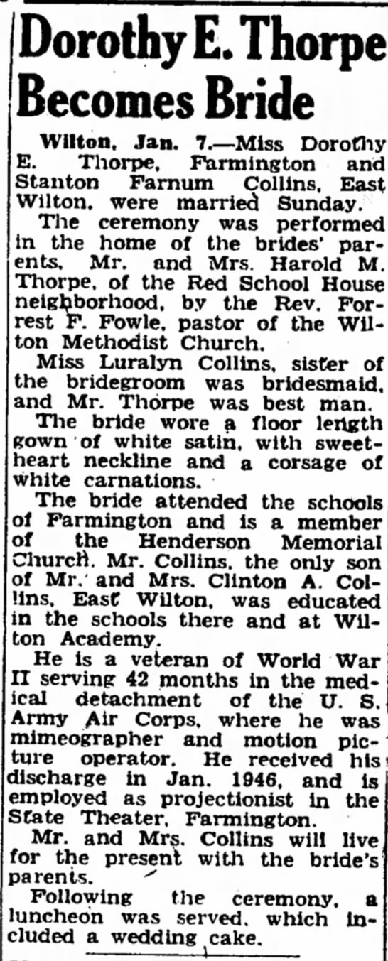 - Dorothy E. Becomes Bride Wilton, Jan. 7.--Miss...