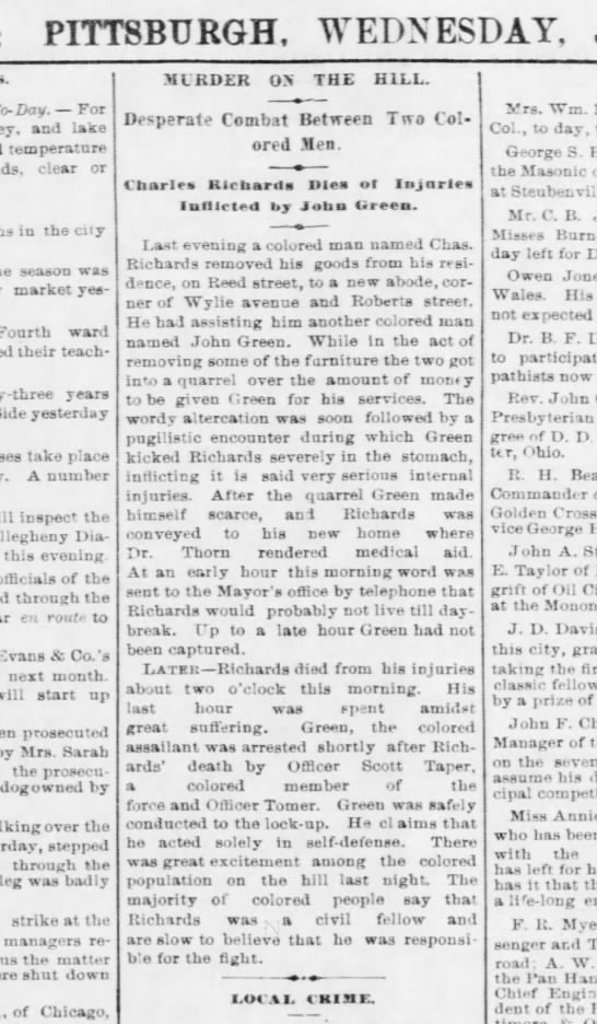 Taper Scott - arrests Hill District man accused of murder - Pgh Post 25 June 1879 p4 - PITTSBURGH, WEDNESDAY, To-Day. For and lake...